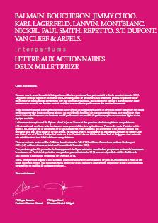 LETTRE AUX ACTIONNAIRES INTERPARFUMS NOVEMBRE 2013
