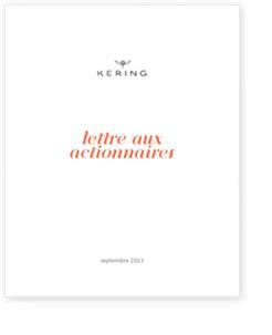 lettre aux actionnaires KERING septembre 2013