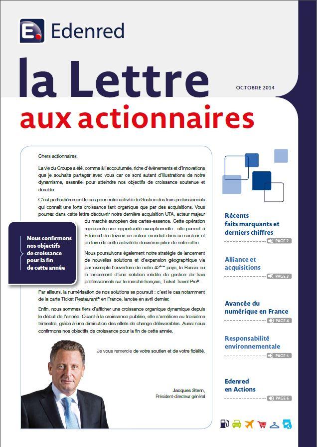 Edenred Lettres aux actionnaires