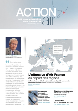 Lettre aux actionnaires de Septembre 2011 Air France-KLM