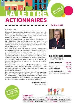 LETTRE SUEZ ENVIRONNEMENT JUILLET 2012