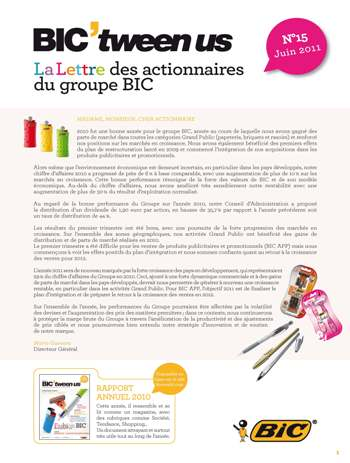 Lettre aux actionnaires de Juin 2011 BIC