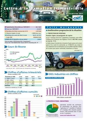 Lettre aux actionnaires du 1er trimestre 2011 EXEL Industries
