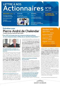 Lettre aux actionnaires de Mars 2011 Saint-Gobain