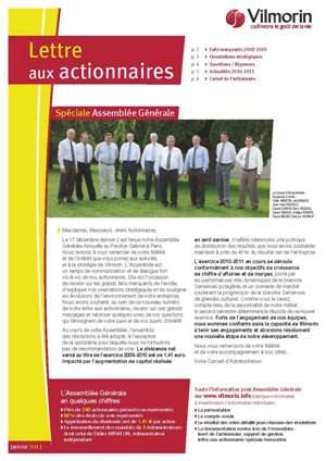 Lettre aux actionnaires de Janvier 2011 VILMORIN