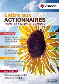 Lettre aux actionnaires VILMORIN Février 2013
