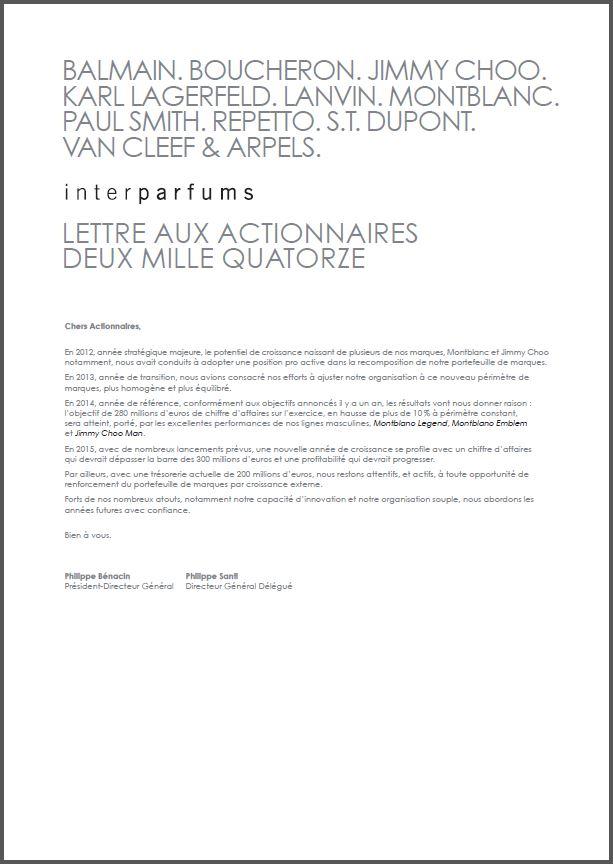 Interparfums Lettres aux actionnaires