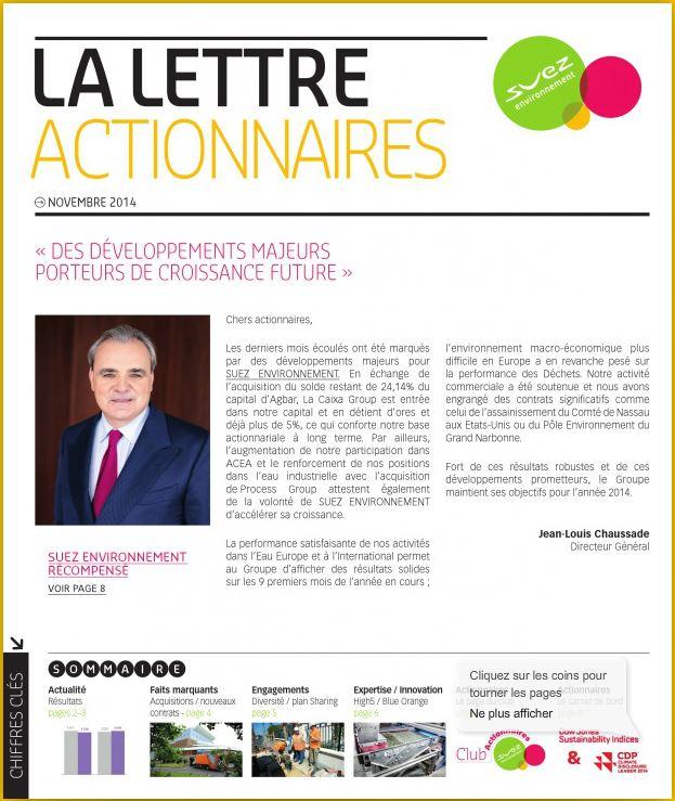 Suez Environnement Lettre aux Actionnaires