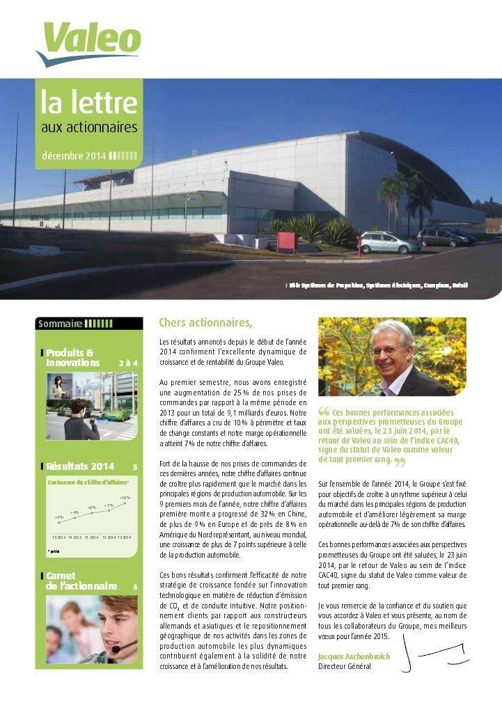 Valeo Lettre aux actionnaires décembre 2014