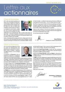 lettre aux actionnaires SANOFI