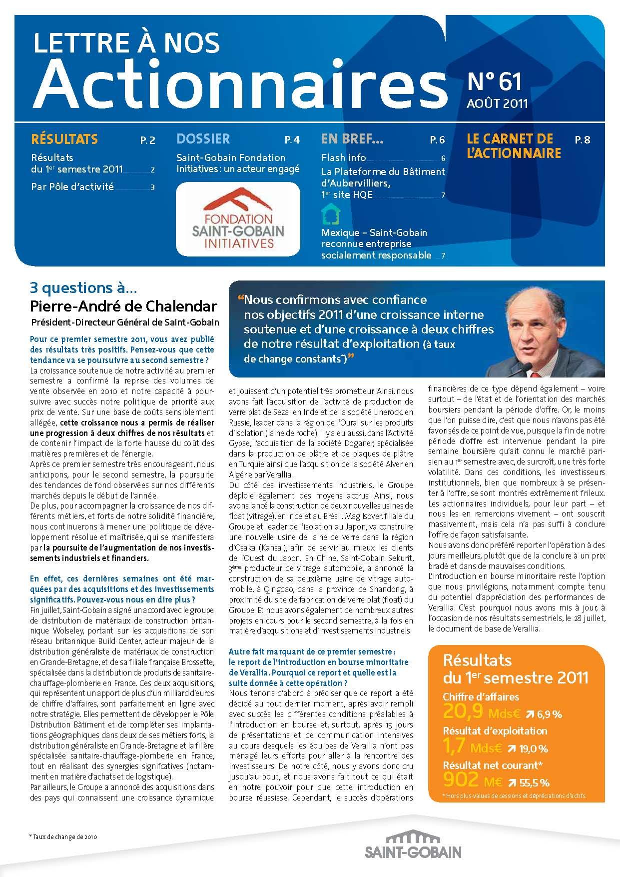 Lettre aux actionnaires de Aout 2011 Saint-Gobain